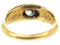 Early Victorian Royal Blue Enamel & Diamond 18ct Gold Ring