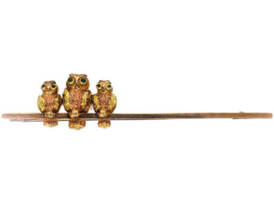 Edwardian 9ct Gold Three Owls on a Bar Brooch