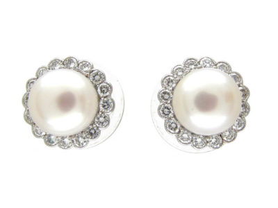 Platinum & 18ct Gold Pearl & Diamond Cluster Earrings