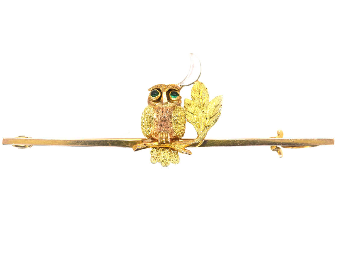 Edwardian 9ct Two Colour Gold Night Owl Brooch