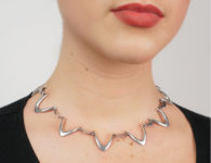 Silver Boomerang Link Collar by E Dragsted
