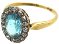 Edwardian 18ct Gold, Aquamarine & Diamond Cluster Ring