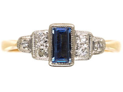 Art Deco 18ct Gold & Platinum, Sapphire & Diamond Step Cut Ring