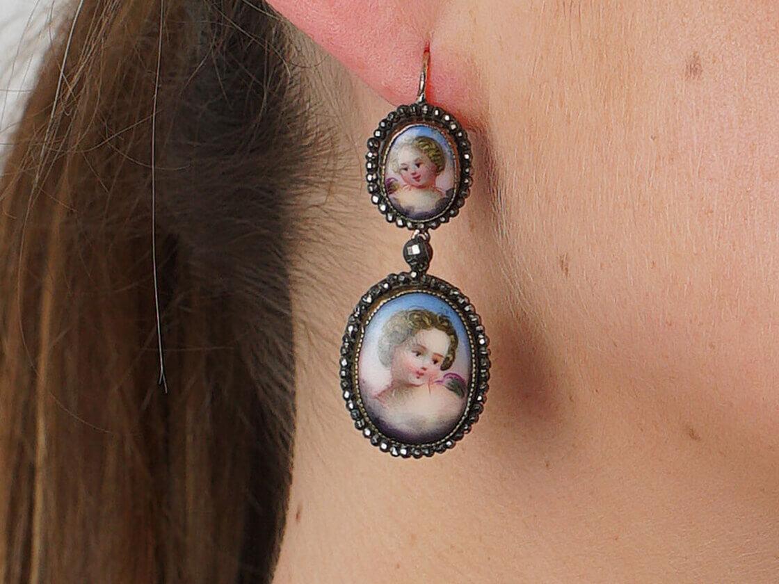 Victorian Cut Steel & Porcelain Cherub Drop Earrings
