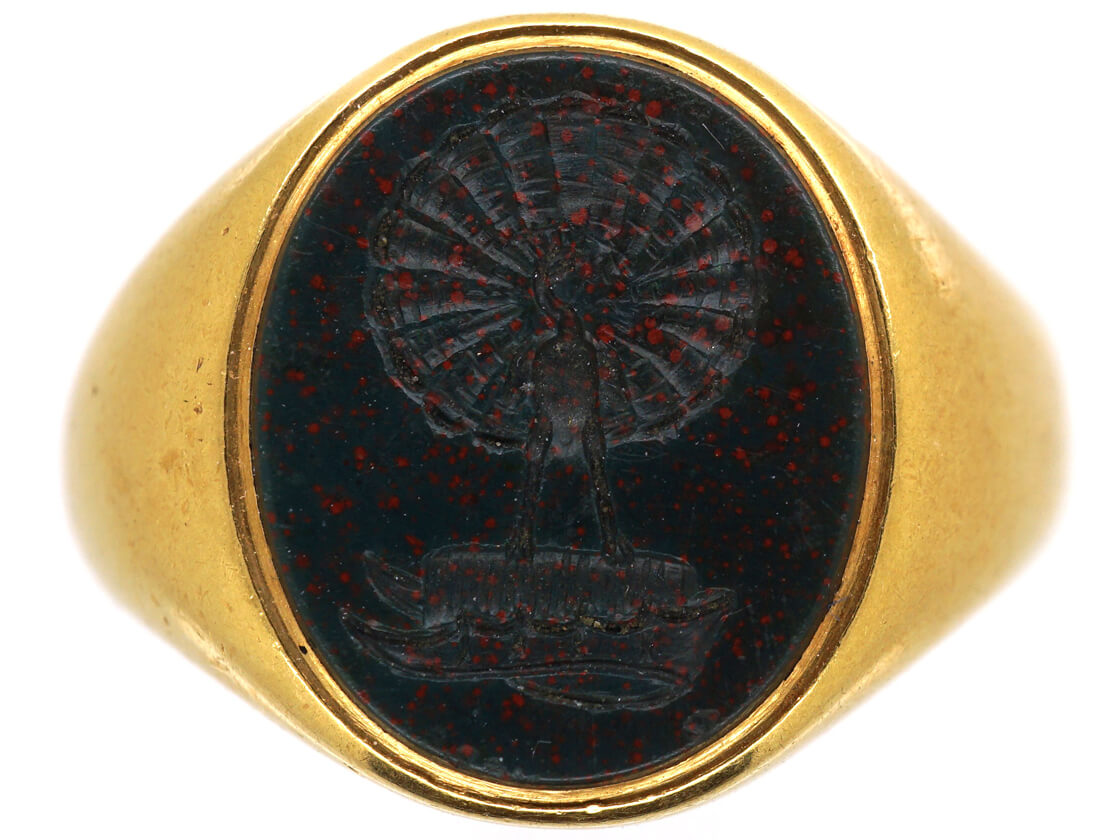 Victorian 18ct Gold Signet Ring with Bloodstone Intaglio of Peacock