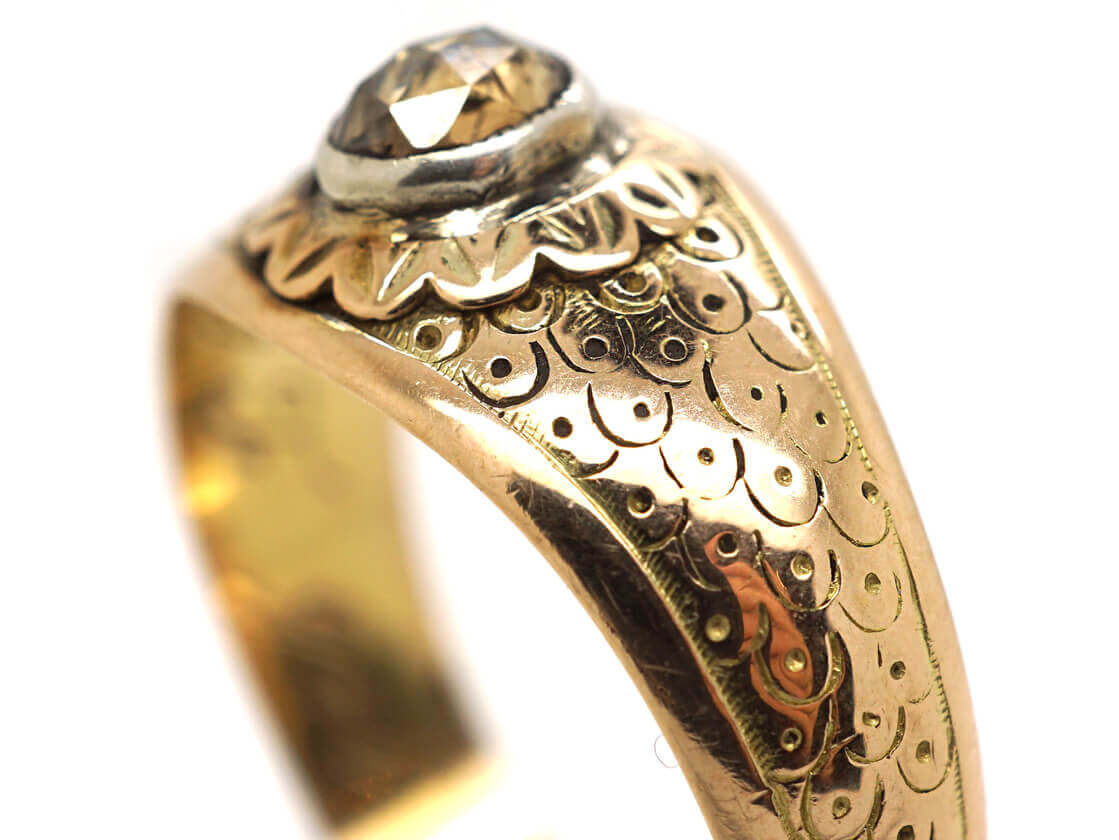 15ct Gold & Rose Diamond Ring Dated 1842