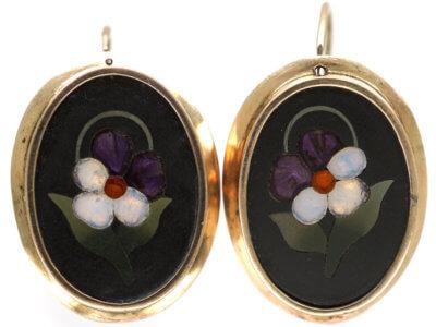 Victorian 9ct Gold & Pietra Dura Flower Earrings