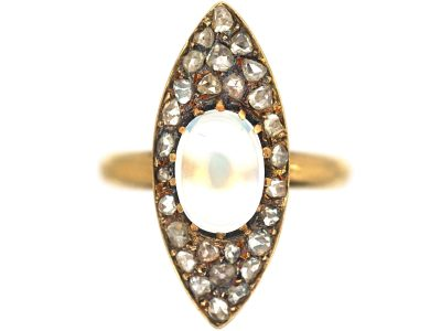 Edwardian 18ct Gold Marquise Shaped Diamond & Moonstone Ring