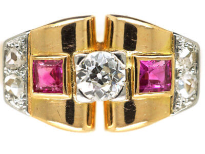 Art Deco 18ct Gold, Ruby & Diamond Geometric Ring