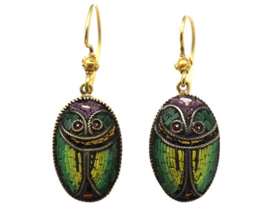 Victorian 15ct Gold & Micro Mosaic Scarab Earrings