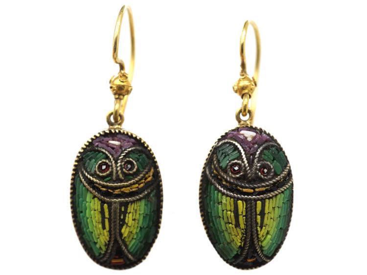 Victorian 15ct Gold & Micro Mosaic Scarab Earrings