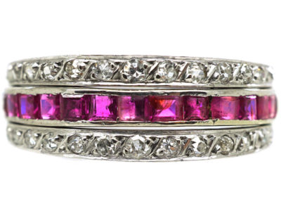 Art Deco 18ct White Gold Ruby, Diamond & Sapphire Flipover Ring