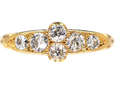 Edwardian 18ct Gold Diamond Carved Half Hoop Ring