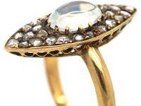 Edwardian 18ct Gold Marquise Shaped Diamond & Moonstone Ring