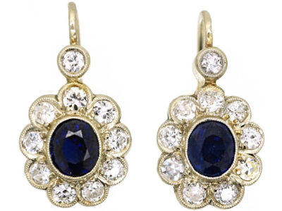 Austrian Art Deco 14ct White Gold Sapphire & Diamond Earrings