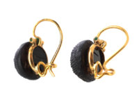French 19th Century 18ct Gold & Black Glass Earrings