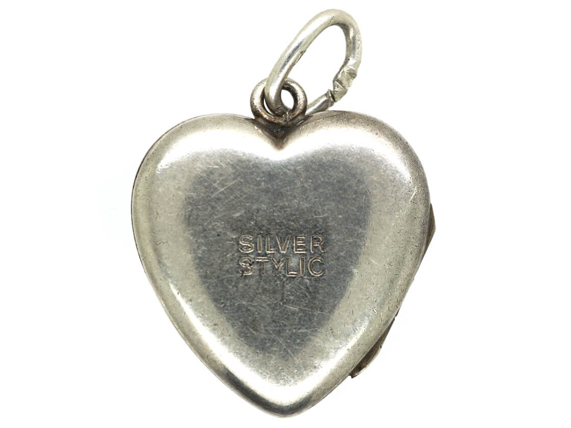 Mid Century Heart Shaped Silver Locket