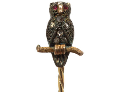 Edwardian Owl Tie Pin set with Rose Diamonds & Cabochon Rubies