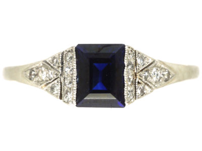Art Deco Platinum, Sapphire & Diamond Ring