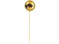 Victorian 18ct Gold Reverse Intaglio Rock Crystal Tie Pin of a Race Horse's Head