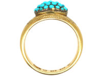 Victorian 18ct Gold Turquoise Cluster Opening Ring