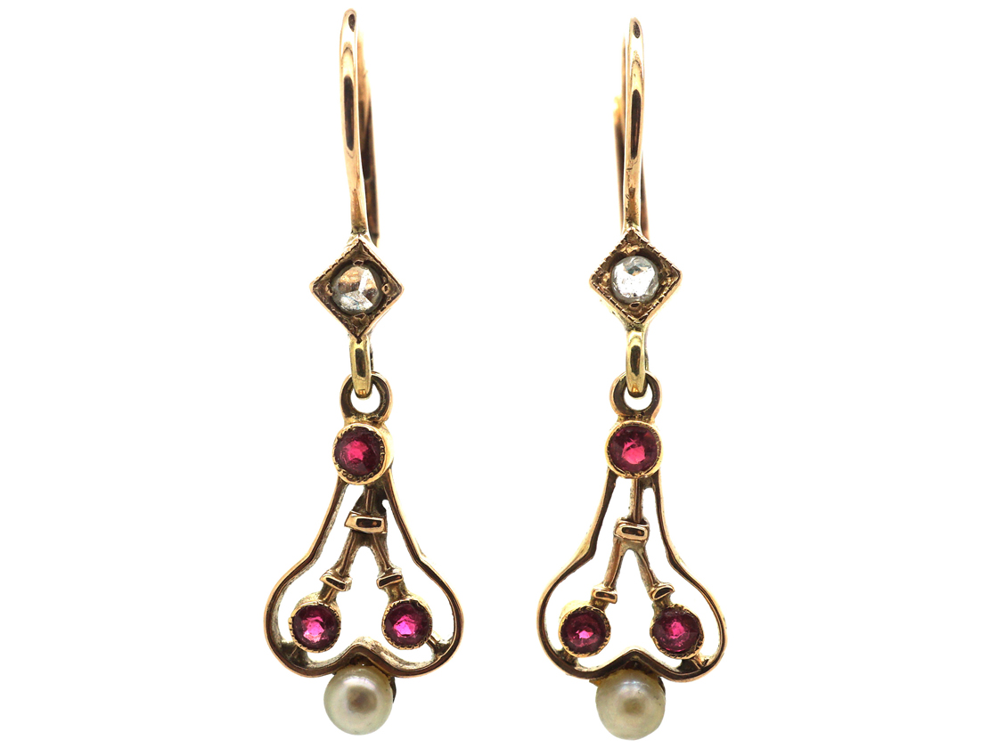 Art Nouveau Ruby, Natural Pearl & Rose Diamond Small Drop Earrings