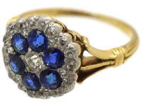 Edwardian 18ct Gold, Diamond & Sapphire Hexagonal Cluster Ring