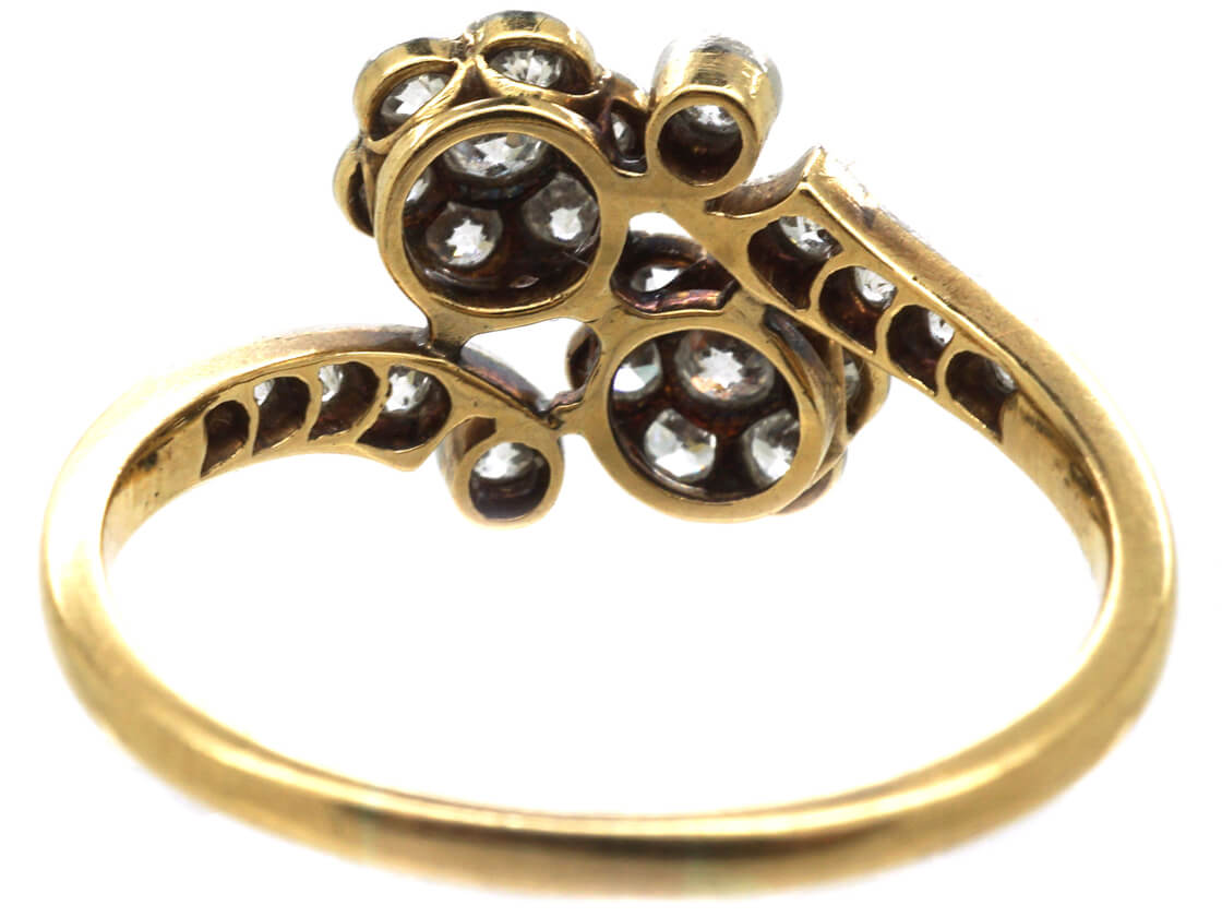 Edwardian 18ct Gold & Platinum Double Cluster Ring