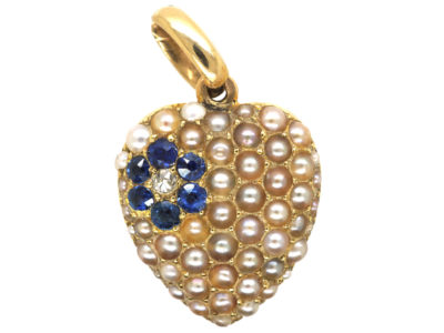 Edwardian 15ct Gold, Natural Split Pearl, Sapphire & Diamond Heart Shaped Pendant