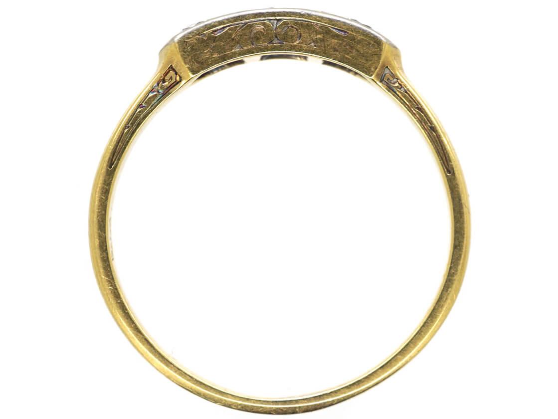 Art Deco 14ct Gold & Platinum Three Stone Diamond Ring