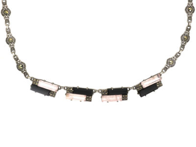 Art Deco Silver, Onyx & Rose Quartz Necklace