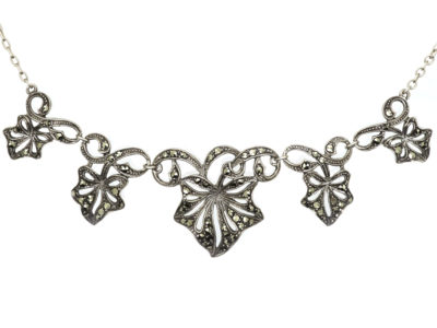 Art Deco Silver & Marcasite Ivy Leaf Necklace