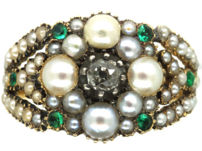 Georgian 15ct Gold, Natural Split Pearl, Diamond & Emerald Cluster Ring