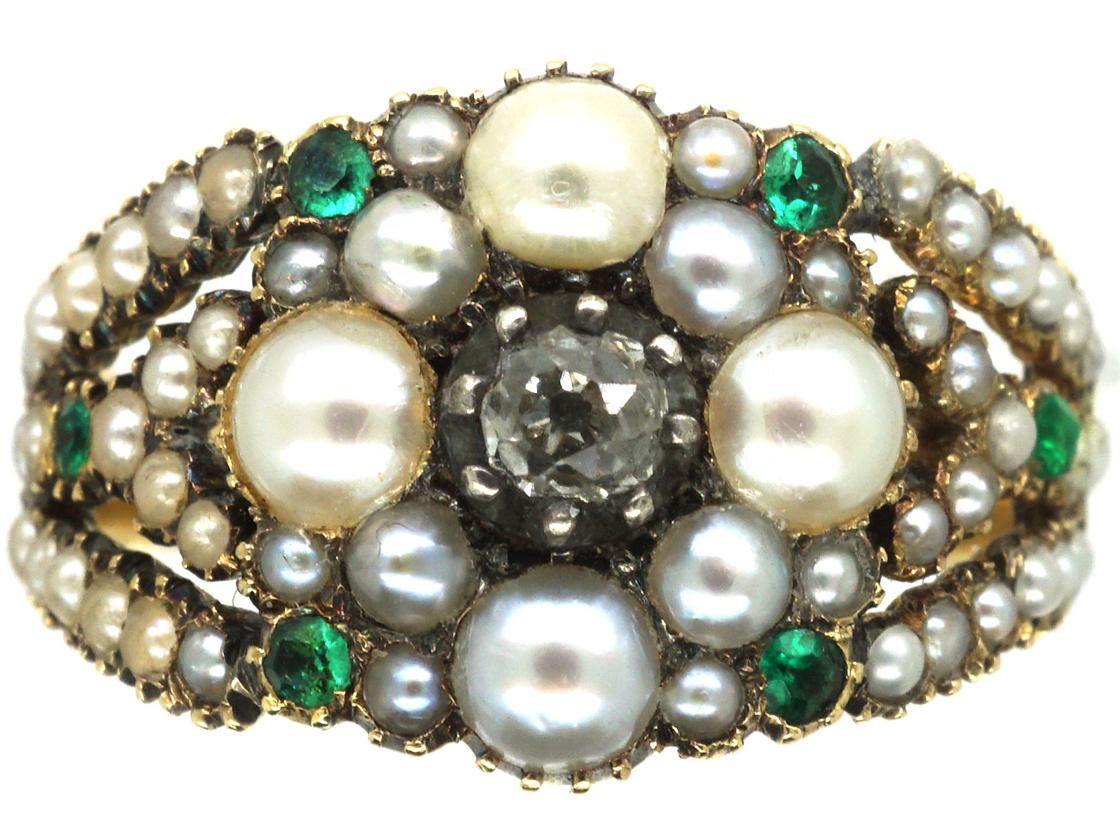 Georgian 15ct Gold, Natural Split Pearl, Diamond & Emerald Cluster Ring
