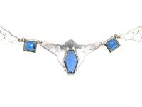 Art Deco Silver, Marcasite & Blue Paste Necklace