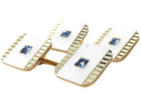 Art Deco 9ct & 18ct Gold Cufflinks set with Mother of Pearl & Sapphires