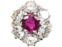 Large 18ct White Gold, Ruby & Diamond Oval Cluster Ring