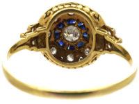 Art Deco Platinum & 18ct Gold, Sapphire & Diamond Cluster Ring