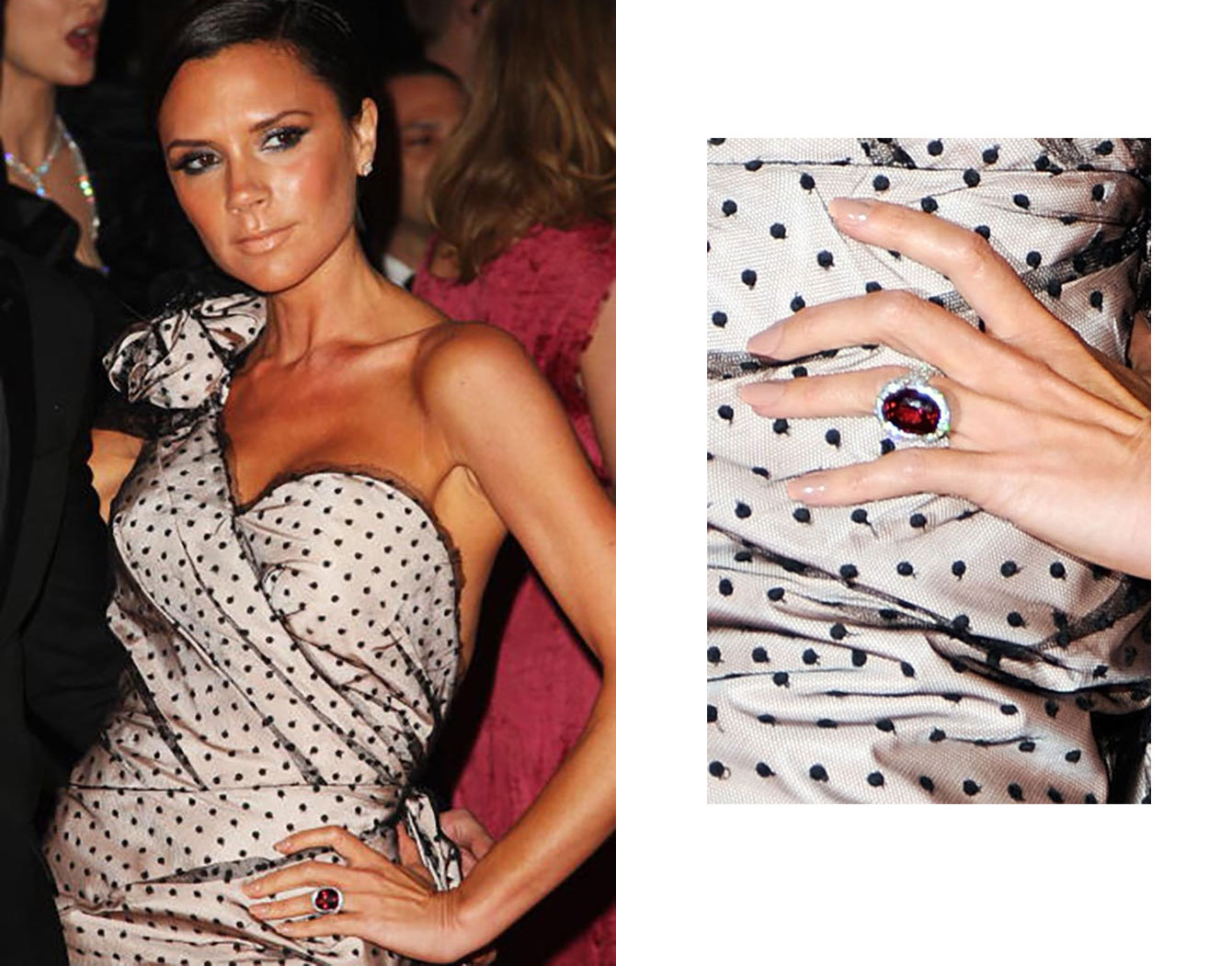 Victoria Beckham, 2009 in New York City, wearing one of her 14 engagement rings
