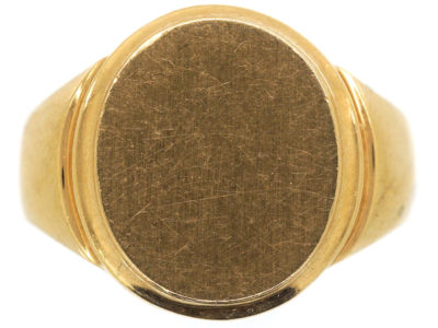 French Early 20th Century 18ct Gold Plain Signet Ring