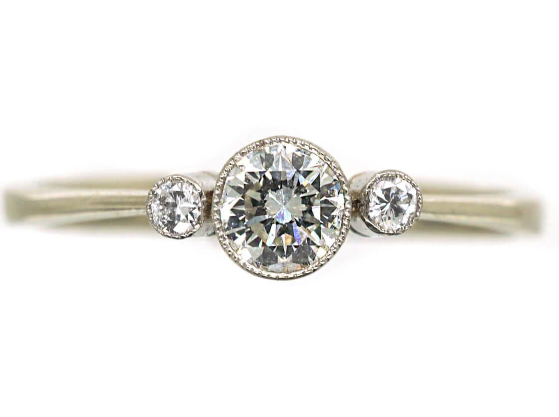 Edwardian 18ct White Gold Three Stone Diamond Ring