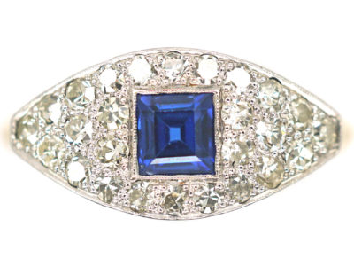 Art Deco 18ct Gold & Platinum Square Cut Sapphire & Diamond Boat Shaped Ring