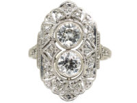 Art Deco Platinum & Diamond Octagonal Shaped Ring