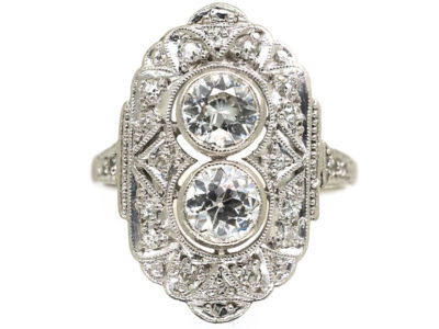Art Deco Platinum & Diamond Octagonal Shaped Ring
