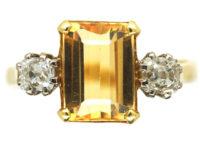 18ct Gold, Topaz & Diamond Ring