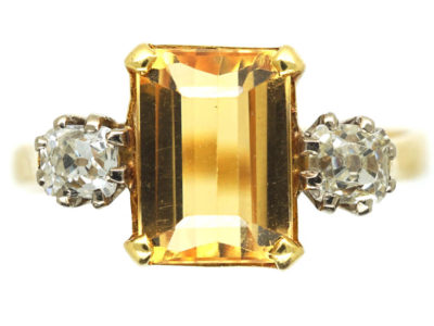 18ct Gold, Topaz & Diamond Ring