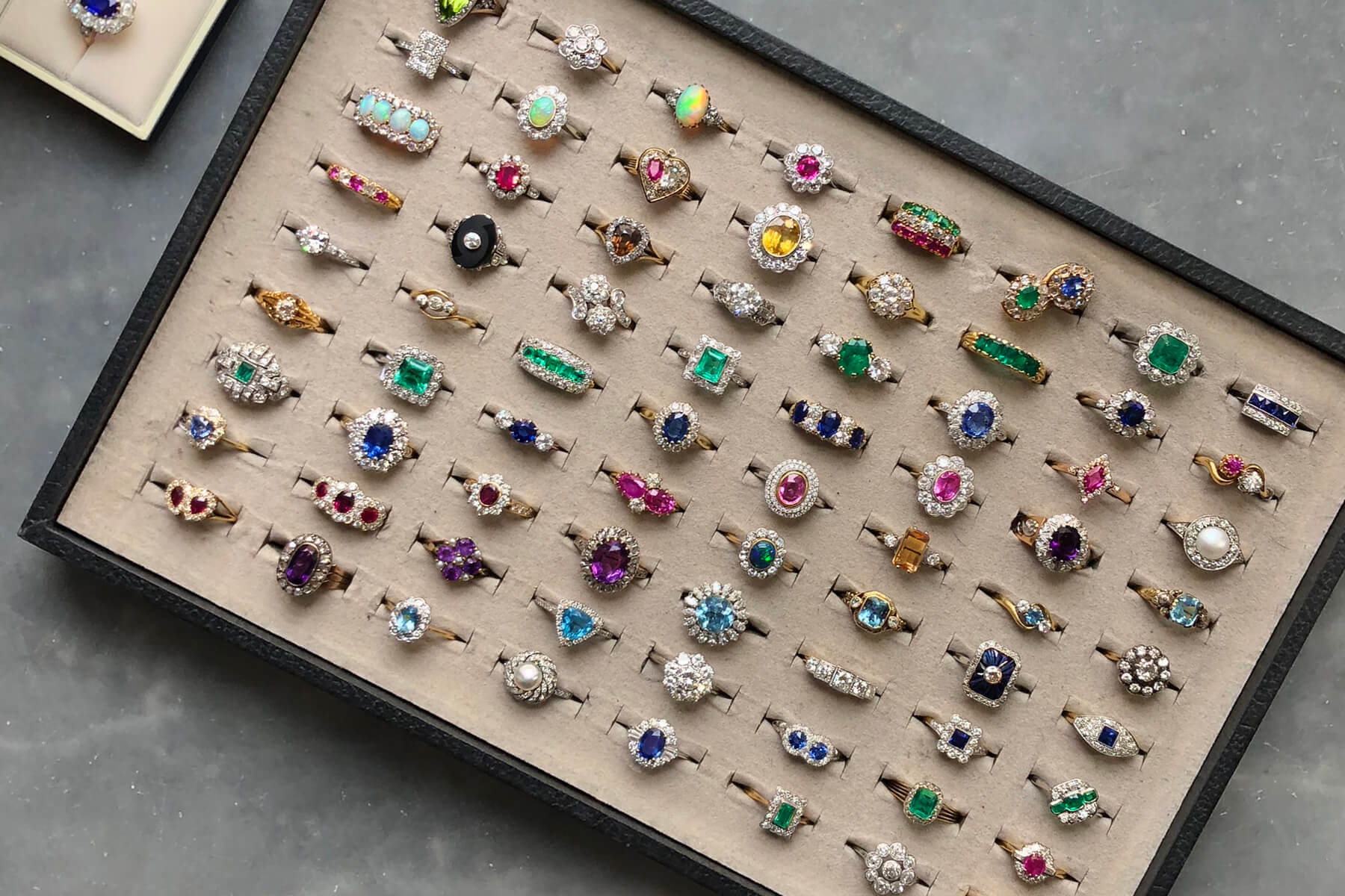 A chocolate box of colourful engagement rings