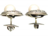 14ct White Gold Round Cultured Pearl & Diamond Earrings