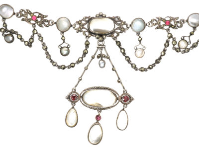 Edwardian Silver, Marcasite, Garnet & Blister Pearl Necklace