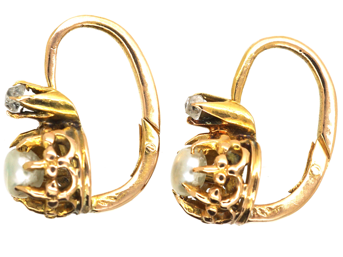 French 18ct Gold, Natural Pearl & Rose Diamond Small Earrings